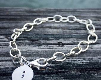Hand Stamped Semicolon Charm Bracelet * 50% of the profits are donated to AFSP for Suicide Prevention