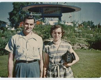Kodachrome Enlargement, [5x7] 1951 Vintage Snapshot Photo: Couple at Funfair Jet Rocket Ride (71539)
