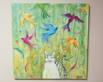 Cat Painting, Kitty Daydreams, Whimsical, colorful cat, birds and feathers painting, original art