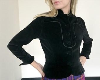 Vintage 60s Victorian Black Velvet Jacket