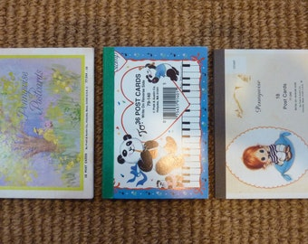 SALE 3 Vintage Post Card Pads Stationery Letter Writing Paper Note Card Supply Girl Bear Piano