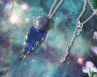 Cosmic dangle Lapis Lazuli crystal necklace