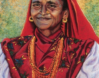 Nepalese Woman Fine Art Giclee Print, Nepali Aama, Woman, Portrait, Archival Print, Pastel Painting By Jan Maitland, Red, 8x10