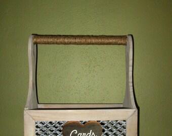 Rustic Wedding Card Box - Card Holder - Wedding Card Basket - Card Box - Burlap Wedding - Gift Table - Wedding Reception - Anniversary Party