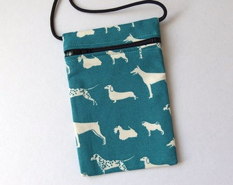 Pouch Zip Bag DOG Breeds Fabric. Great for walkers, markets, travel. Cell phone pouch. small teal fabric purse.  Dalmation Dachshund Pug.