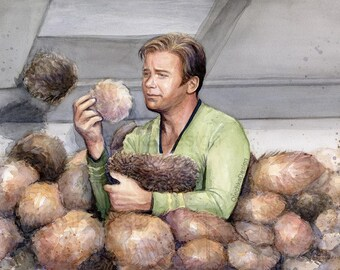 Captain Kirk and Tribbles Art Print Star Trek Print Captain Kirk Portrait Watercolor Art Print Sci-fi Painting Wall Art Geek Decor Print