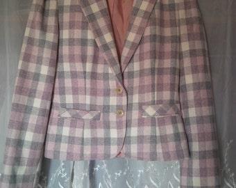 70s Checker Pink Gray Blazer Jacket with Pockets szXS/S