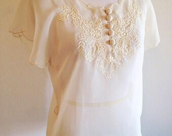Vintage Delicate Ivory Lace Romantic Blouse