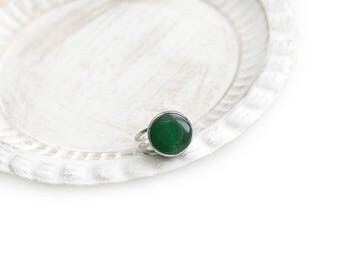 Adjustable Round Green Jade Stone Silver Plated Ring