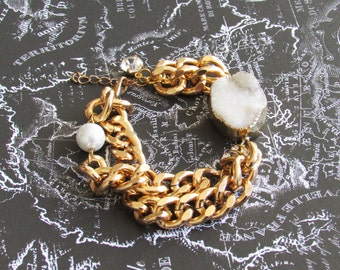 White Agate Druzy Gold Chunky Chain Bracelet