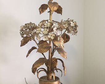 LAYAWAY FOR JS of Ca Vintage Italian Tole Lamp Hydrangea Table Lamp, Made in Italy, Gold Gilt Metal Tag Attd, Gold, White at Ageless Alchemy