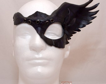 Black Leather Raven Wing Half Mask Valkyrie Maleficent Inspired Original Cosplay