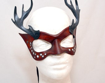 Burgundy Deer Stag Woodland Nymph Antlered Masquerade Cosplay Mask