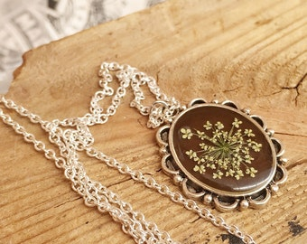 dried flower pendant, woodland necklace, real flower necklace, real flower jewelry, cameo necklace unique jewelry, unique gifts for women