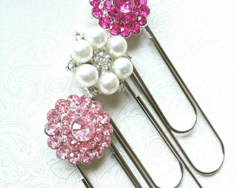 Fun Gift for Her, Rhinestone Jumbo Paperclip, Paperclip Bookmark, Gift for Teacher, Gift for Co-Worker, Fun Gifts for Her, Blingy Office