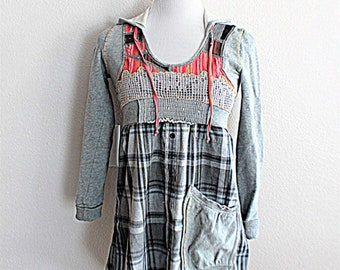 Upcycled Free People Hoodie / Funky Repurposed Shirt / Junior's Women's Clothing / Boho Clothes