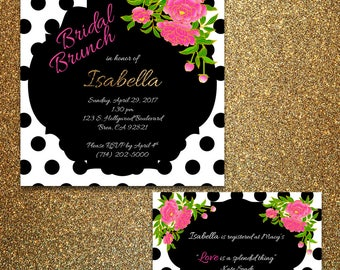 kate spade inspired bridal shower invitation 5x5 printable