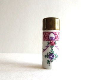 Antique Vintage French Porcelain Hand-Painted Smelling Salts Bottle