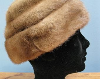 1960's Honey Mink Hat Fur Winter Hat