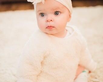 Choose color! Nylon headband, flower baby headband, one size nylon wide headband, nylon headband, newborn headband, baby shower gift