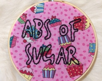 Framed Abs Of Sugar Handmade Embroidery On Cupcake Fabric, Finished Piece