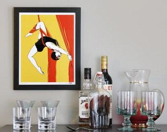 Acrobat aerialist circus performer art print