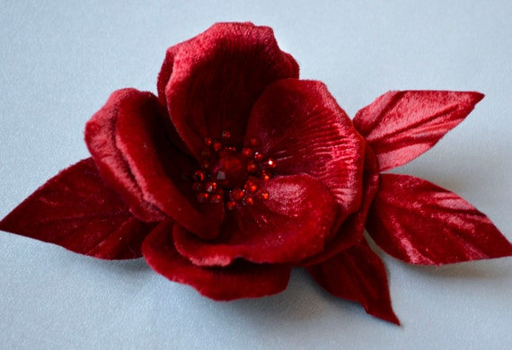 Hair Accessories - Bridal Hair Flowers - Crystal Rose - Red Silk Velvet Rose - Crystal Flower - Hair Clip - Red Fascinator - Pin Up Flowers
