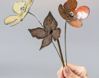 Recycled Metal Flower Sculpture | Metal Wildflowers Bouquet of 3. Primitive Country Rustic Lodge Man Cave Decor. Gift for Him | M16-534