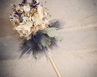 Harry Potter Themed Ivory Gold Black Tutu Flower Girl Wand Custom Order