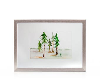 Original watercolor painting, simple Long leaf pine tree watercolor artwork, Hand painted landscape nature scene, Affordable gift