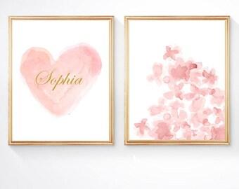 Blush Prints, 8 x 10 - Set of 2 Prints, Personalized Blush and Gold Prints, Blush Flowers, Watercolor Prints, Blush Nursery Art, Gold Name