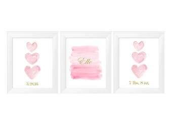 Nursery Birth Stats Prints, 11x14-Set of 3, Pink Baby Nursery, Pink and Gold Nursery, Personalized Baby Prints, Gold Birth Stats, Pink Baby