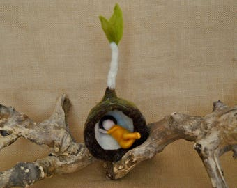 Spring Bud  Waldorf inspired needle felted flower-doll: Yellow root child