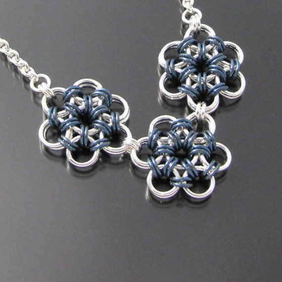Silver and Blue Japanese Flower Necklace