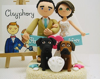 Beach theme Cute couple with the banner and 2 dogs custom wedding cake topper.