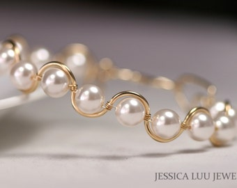 Gold White Pearl Bracelet Wire Wrapped Jewelry Bridal Pearl Bracelet Rose Gold Bracelet Bridal Jewelry Bridesmaids Gifts Gold Jewelry