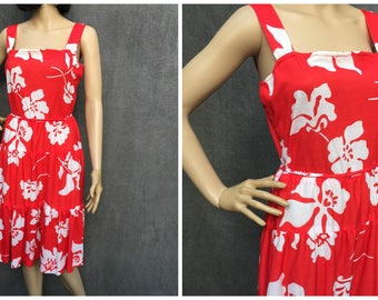 Vintage Hawaiian Halter Dress - Red with White Hibiscus Women's Size 6 - 8