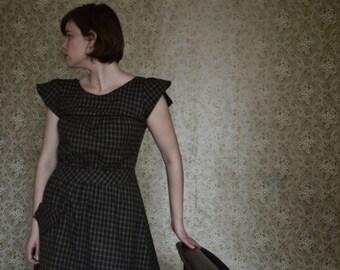 Dottie / 1930's Dress / Winter Dress / Black Dress / Free Shipping / Vintage Dresses For Women / Flannel Dress / Cap Sleeves /