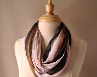 FREE SHIPPING, Long Infinity Scarf, New For Spring, Satin Scarf in Pale Pink Taupe and Camel Stripe with a bit of Sparkle