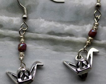 Japanese Paper Crane Earrings, silver colored, origami cranes, Asian, Birds