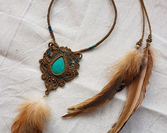 Tribal Rooster Feather & Turquoise Macrame Choker Necklace