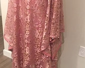 Maria B lace cape dress, original, 2-pc sticthed, teapink, lace cape, pakistani clothing, lace poncho/kaftan/cape, womens clothing