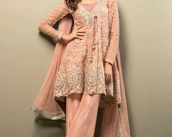 Zainab Chottani Salmon pink angarkha style, women's clothing, pakistani clothes, indian dress, pink angarkha