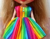 SALE..BLYTHE doll Its my party dress - rainbow stripes