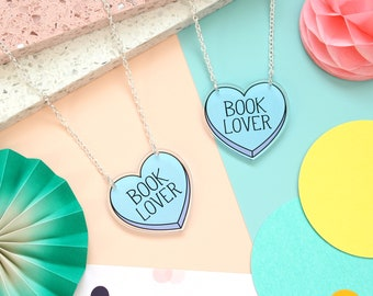 Book Lover Necklace. Bookworm Necklace. Book Lover Jewellery. Bookish. Literary Jewellery. Literary Gifts. Book Lover. Acrylic Necklace.