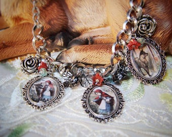 What big eyes you have! Red riding hood necklace.