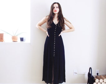 Black Maxi Dress . 1980s Black dress Long dress button down dress summer dress corset back dress coven dress american horror story dress