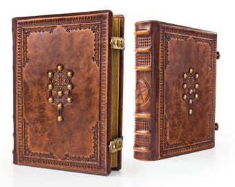 "7.5"" x 9.5"" - Tree of Life Leather Journal - Book of Shadows, Grimoire, Blank Book, Unique Gift, Kabbalah magic, Magician book, Esoteric"