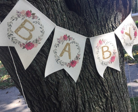 Baby Banner Floral Baby Shower Banner Baby Girl