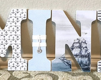 Nautical letters, nautical nursery letters, wooden letters, nautical nursery boy, wooden letters for boy- The Rugged Pearl